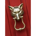 Polished Brass Fox Head Door Knocker