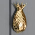 Polished brass pineapple door knocker on a grey door