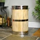 """""""Hofburg"""" Wooden & Polished Brass Log Basket"""