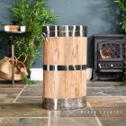 "Polished Steel ""Hofburg"" Wooden Log Basket in Situ Next to the Fireplace"