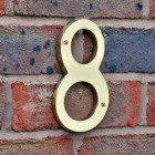 6 inch extra large polished brass numbers