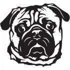 Metal Pug Wall Art Finished in Black