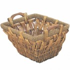 Rattan Style Wicker Log Basket with Wooden Handles
