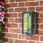 Black Rectangular Wall Light in Situ on an Outside wall