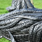 Close-up of the Recycled Rubber Car Tyre