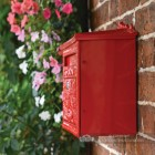 Red Wall Mounted Post Box With Locking Front Door