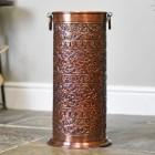 """Rosecroft Manor"" Ornate Umbrella Stand in an Antique Copper Finish"