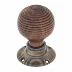 Rosewood & Antique Brass Door Knob Set