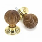 Rosewood Door Knobs & Polished Brass Roses
