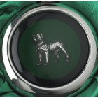 Close-up of the Rottweiler on the Whiskey Flask