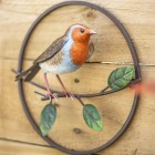 Hand painted Robin Perched on a Branch