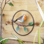 Robin Perched on a Branch Wall Art in Situ on a Wooden Wall