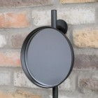 Round Wall Mounted Mirror & Shelves Unit Mirror Close-Up