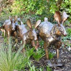 Running Rabbit Sculpture Made From Bronze Recycled Metal