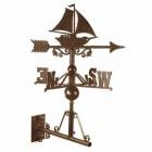 Rustic Sail Boat Weathervane on the Universal Bracket Horizontally