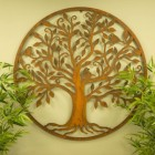 Rustic Bird & Tree Round Wall Art in Situ