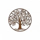 Rustic Bird & Tree Round Wall Art