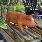 Small Rustic Metal Pig Sculpture