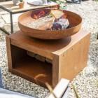 Rustic Firepit & Log Holder in Situ Burning Wood