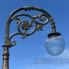 Rustic Gold Lamp Post Bracketry With Globe Luminaire