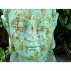 Rustic Green Buddha Head Statue