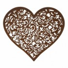 Scroll Pattern Heart Wall Art in a Rustic Finish