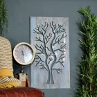 Rustic Tree Wall Art in Situ in the Home Next to a Clock and Chair