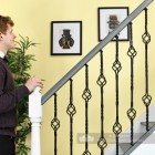 Black Iron Double Basket Stair Spindle Scale