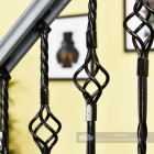 Black Iron Double Basket Stair Spindle Close Up