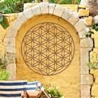 "Geometry ""Flower of Life"" Steel Wall Art in Situ in the Garden"