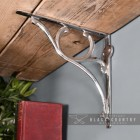 Bright Chrome Shelf Bracket with an Ornate Scroll Design Scrolled