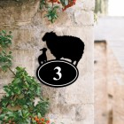 Sheep & Lamb Iron House Number Sign Created Out of Iron