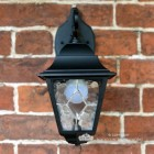"Front View of the ""Sheringham"" Traditional Black Top Fix Wall Lantern"