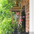 Side view of antique brass porch light