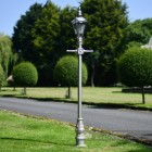 Silver Finish Victorian Lamp Post With Chrome Lantern