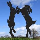 Black Simplistic Boxing Hares Silhouette