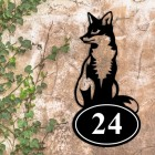 Sitting Fox Iron House Number Sign in Situ on a Rustic Wall