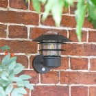 """Skive"" Black Contemporary Wall Light in Situ Outdoors"