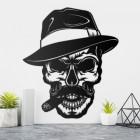 Gangster Skull with Hat & Cigar Wall Art