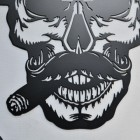 Close up of moustache, cigar and teeth on Gangster Skull
