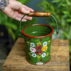 Small Green Narrowboat Hand Painted Bucket to Scale