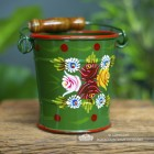 Hand Painted Small Green Narrowboat Hand Painted Bucket