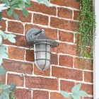 """South Shore"" Silver Standard Top Fix Wall Lantern on the Front of a House"