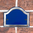 Arched Number Sign Finished in a Blue & Chrome with Gold Vinyl Numbers