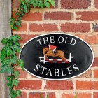 Show Jumper Cast Iron House Name Sign on Brick Wall