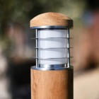 Close-up of the Stainless Steel Top of the Pillar Light