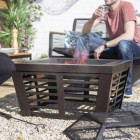 Contemporary Fire Pit & Grill Finished in Bronze with Mesh Lid