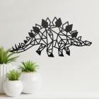 Geometric Iron Stegosaurus Wall Art on a Cream Wall