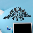 Geometric Iron Stegosaurus Wall Art on a Blue Wall