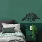 Geometric Iron Stegosaurus Wall Art in Situ in a Bedroom